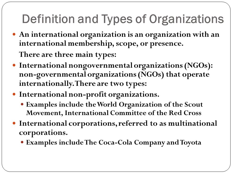 Definition and Types of Organizations