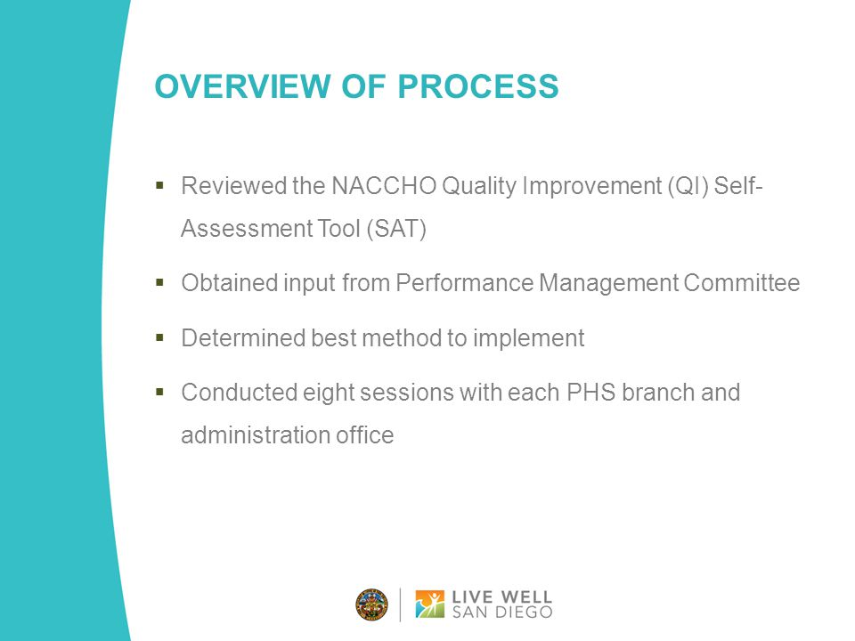 Overview of process Reviewed the NACCHO Quality Improvement (QI) Self- Assessment Tool (SAT) Obtained input from Performance Management Committee.