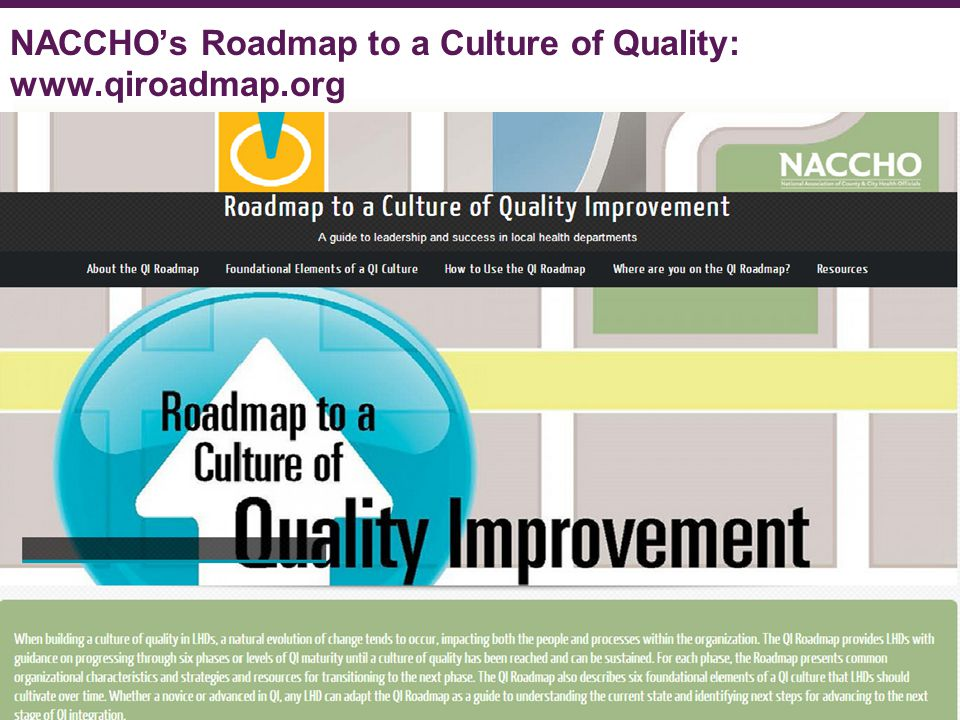 NACCHO's Roadmap to a Culture of Quality: www.qiroadmap.org