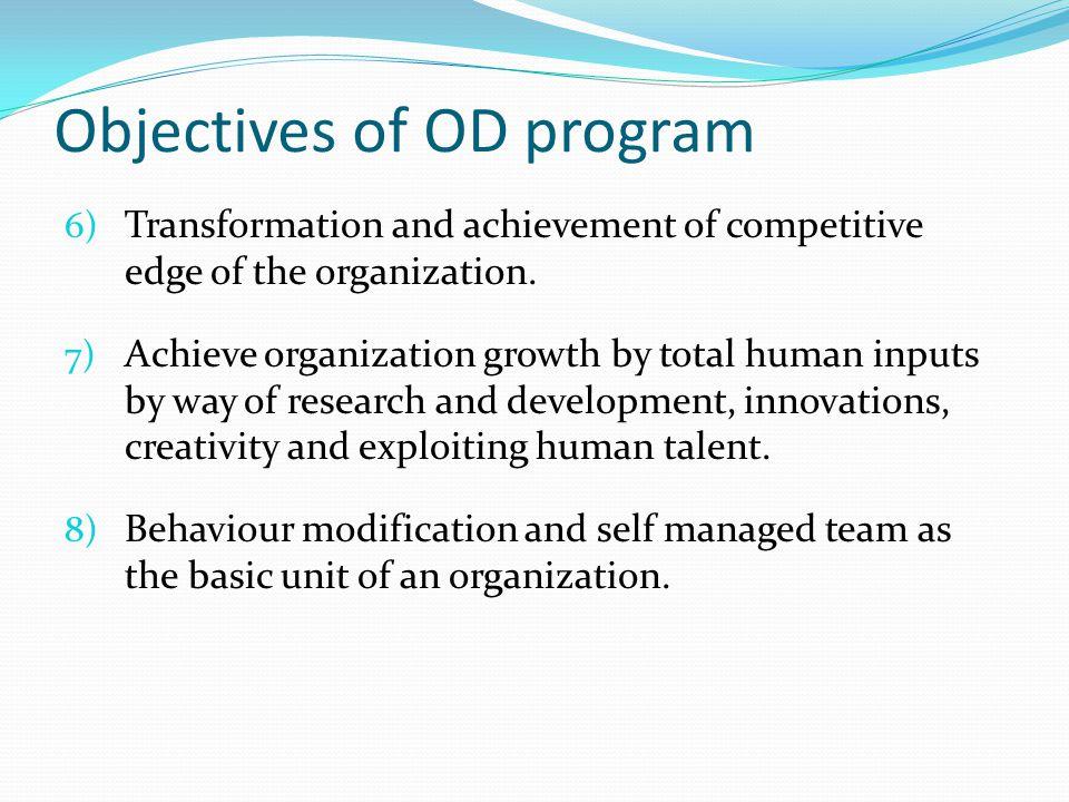 Objectives of OD program
