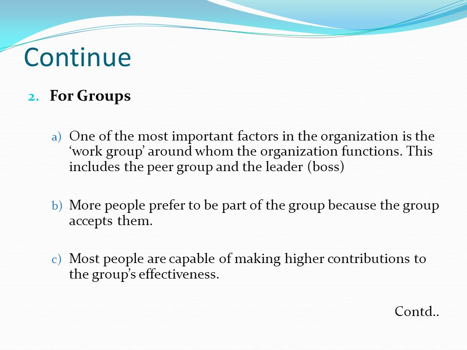 Continue For Groups.