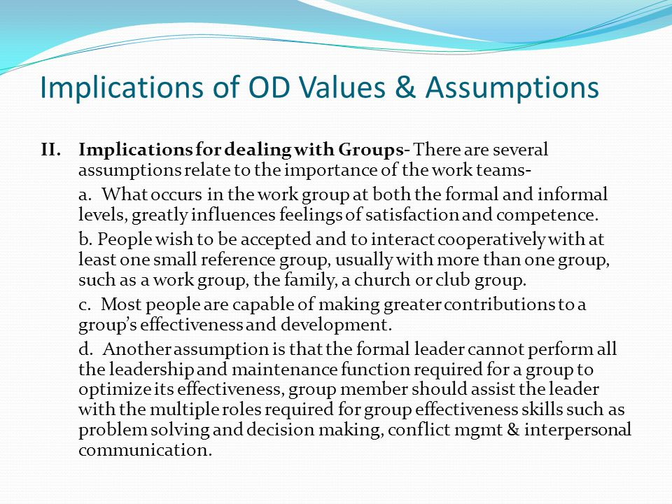 Implications of OD Values & Assumptions