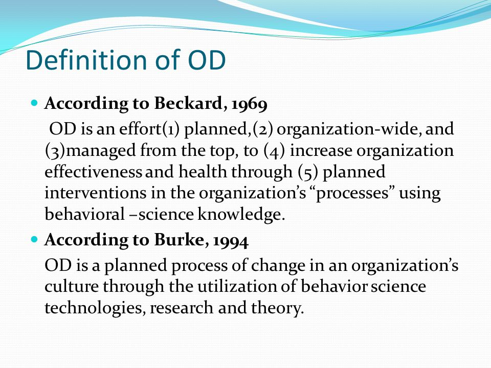 Definition of OD According to Beckard, 1969