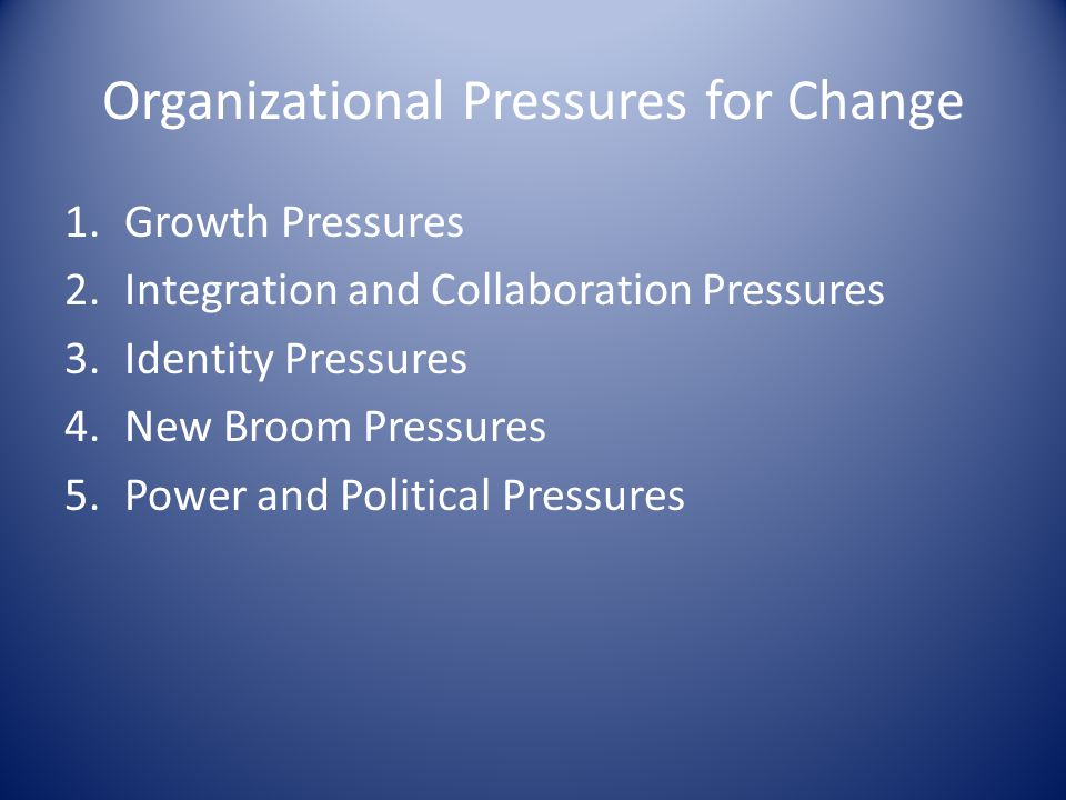 Organizational Pressures for Change
