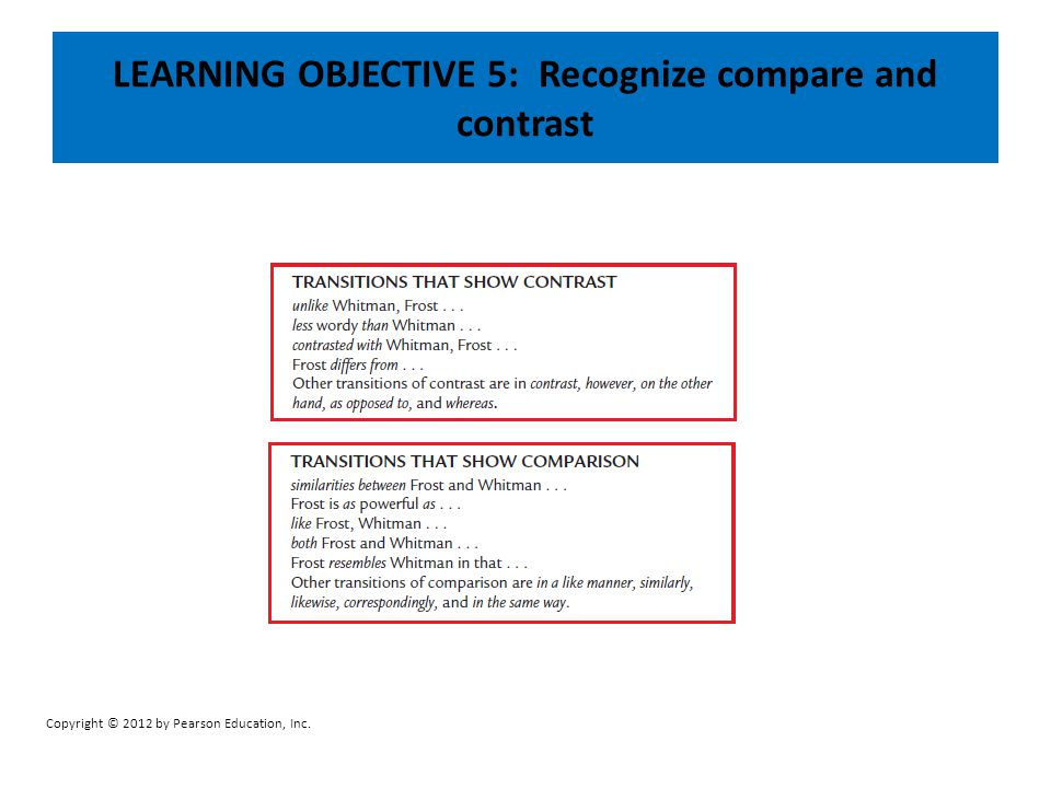 LEARNING OBJECTIVE 5: Recognize compare and contrast