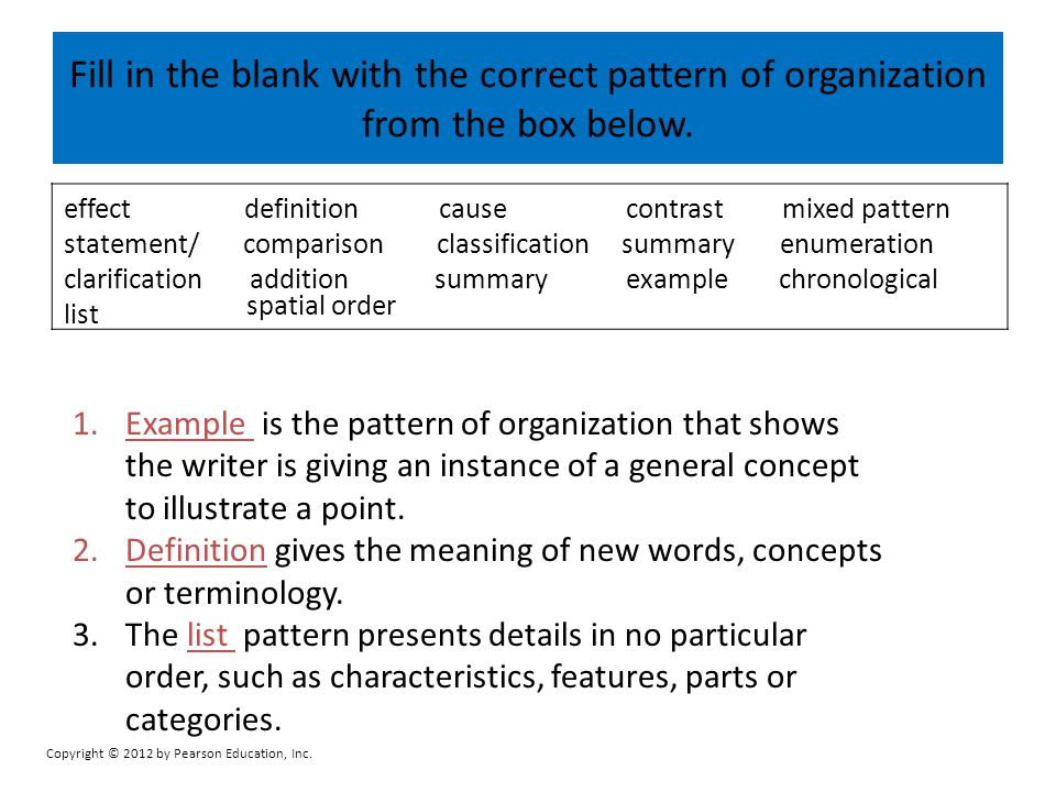 Fill in the blank with the correct pattern of organization from the box below.