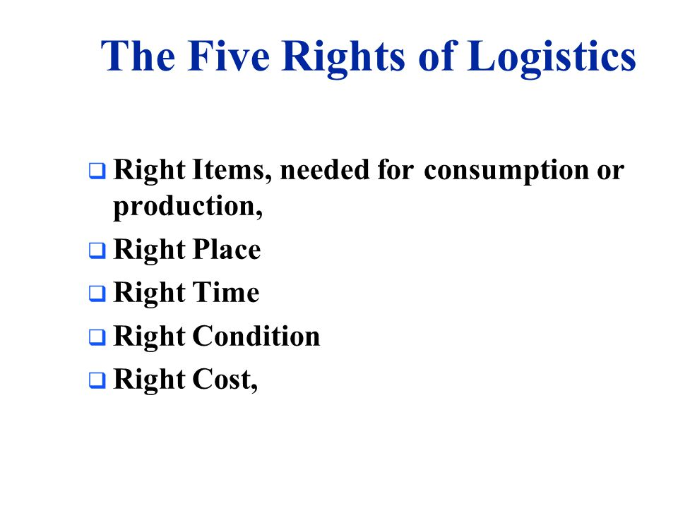 The Five Rights of Logistics