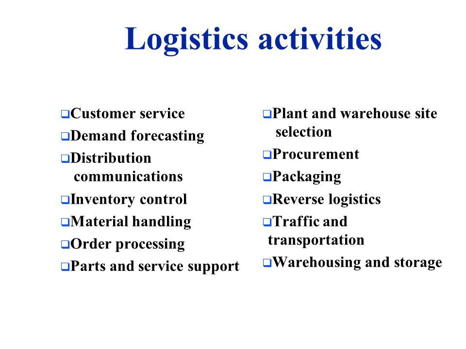 Logistics activities Customer service Demand forecasting