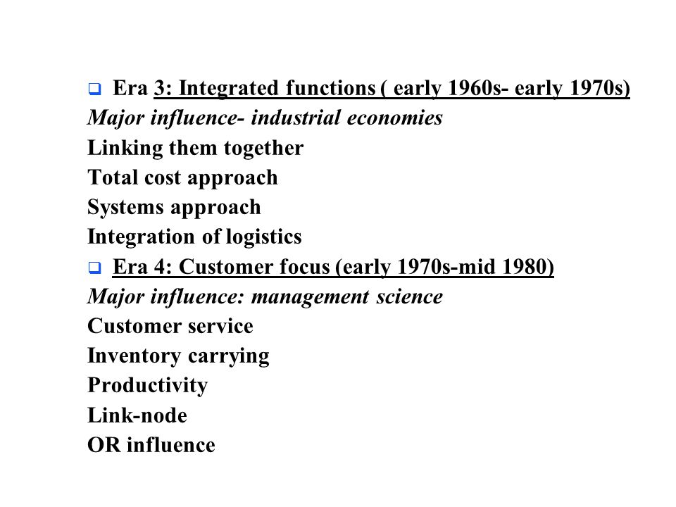 Era 3: Integrated functions ( early 1960s- early 1970s)