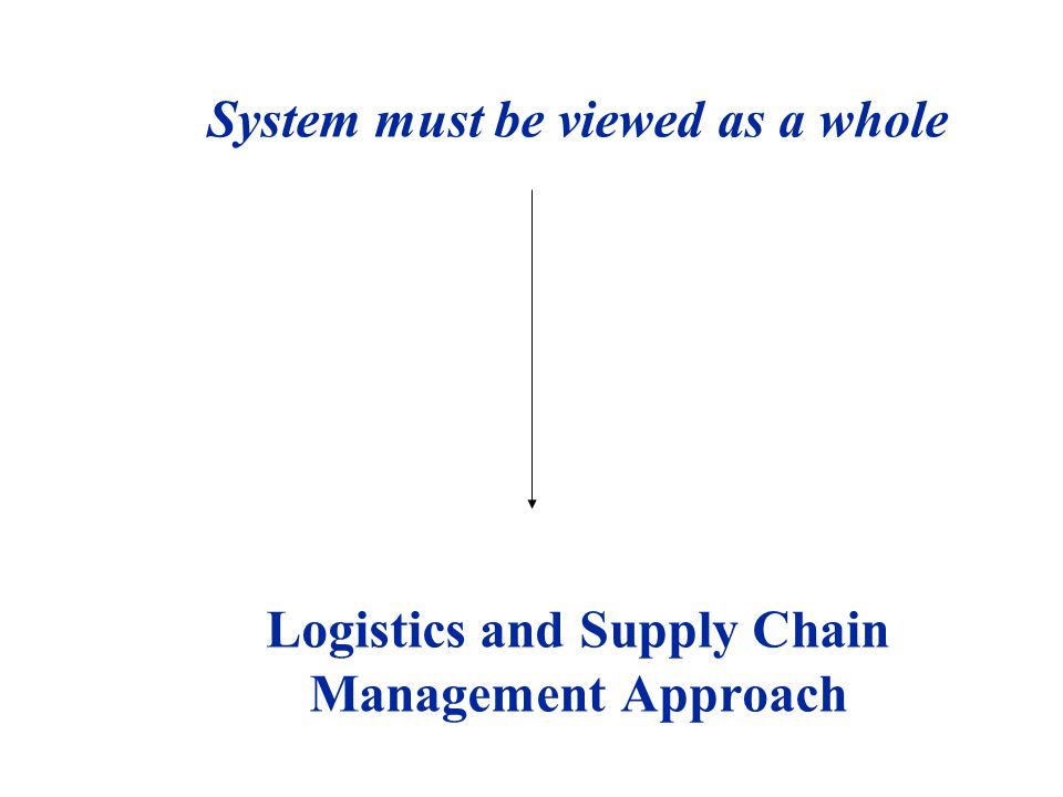 System must be viewed as a whole Logistics and Supply Chain Management Approach