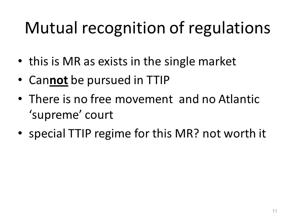 Mutual recognition of regulations