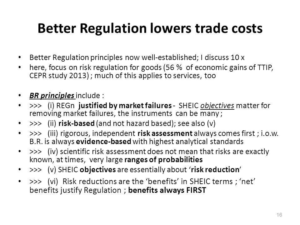 Better Regulation lowers trade costs