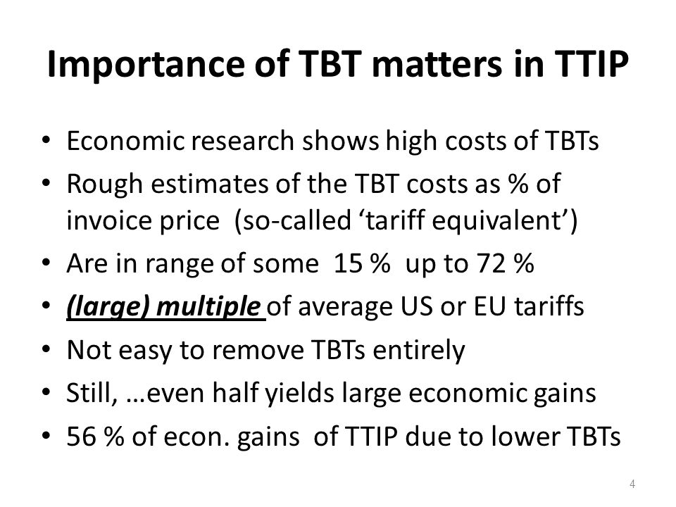 Importance of TBT matters in TTIP