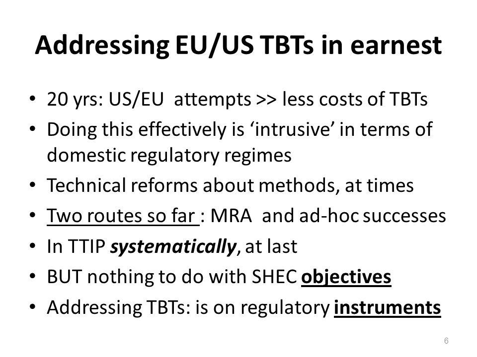 Addressing EU/US TBTs in earnest
