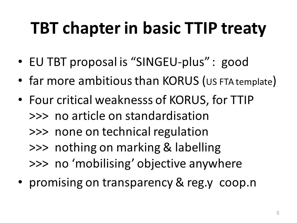 TBT chapter in basic TTIP treaty