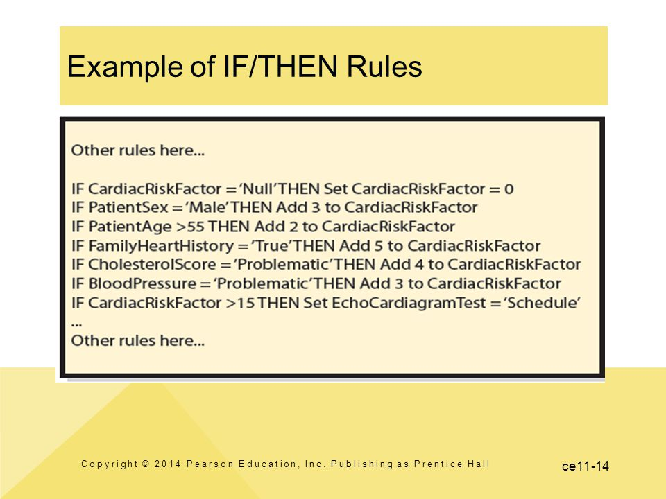 Example of IF/THEN Rules