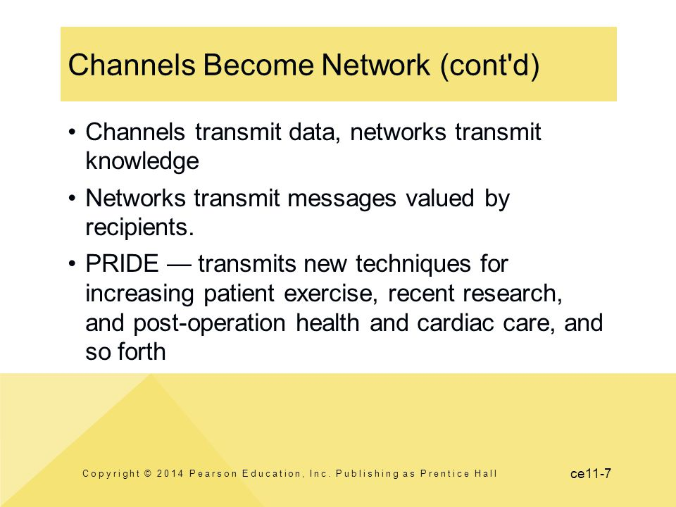 Channels Become Network (cont d)