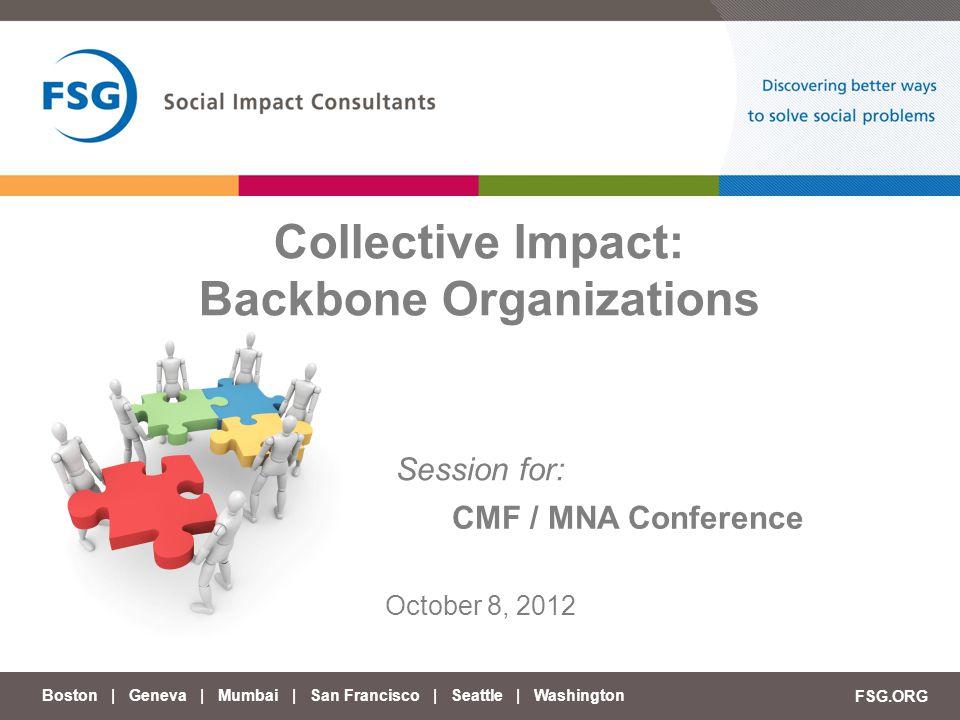 Collective Impact: Backbone Organizations