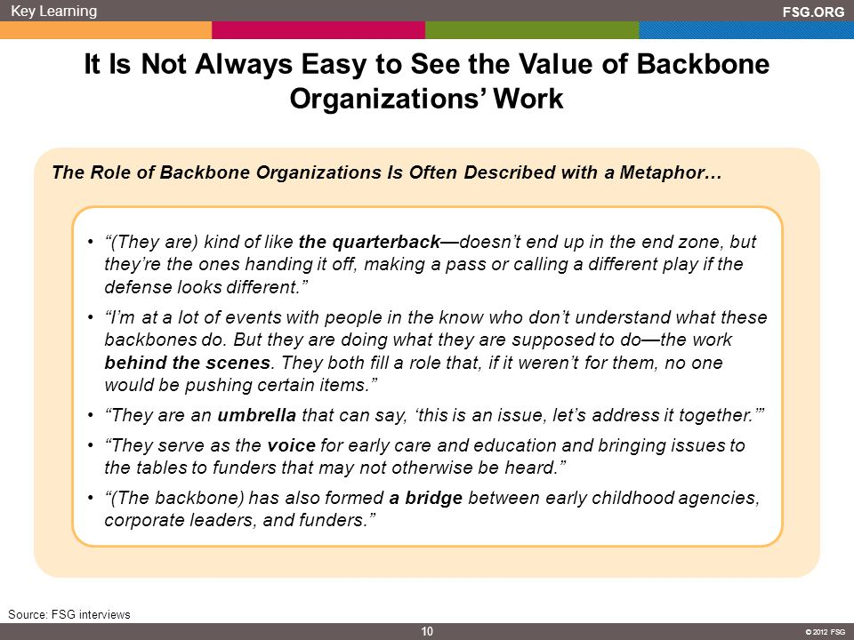It Is Not Always Easy to See the Value of Backbone Organizations' Work