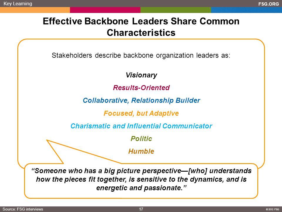Effective Backbone Leaders Share Common Characteristics