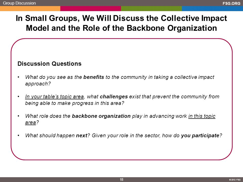 Group Discussion In Small Groups, We Will Discuss the Collective Impact Model and the Role of the Backbone Organization.
