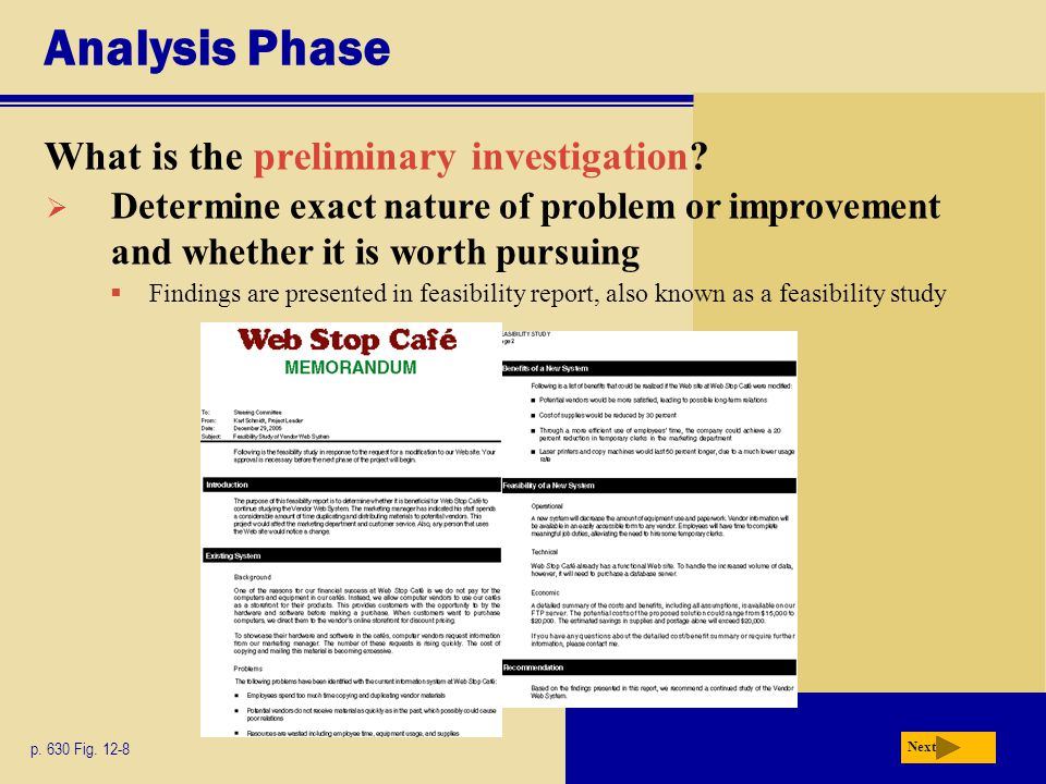 Analysis Phase What is the preliminary investigation