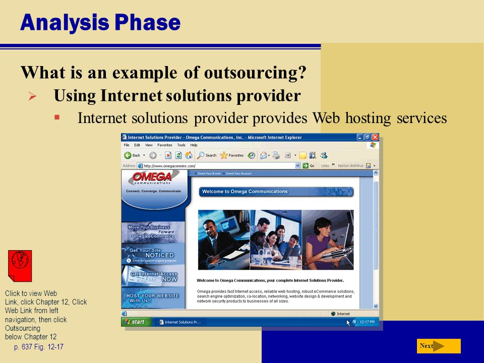Analysis Phase What is an example of outsourcing