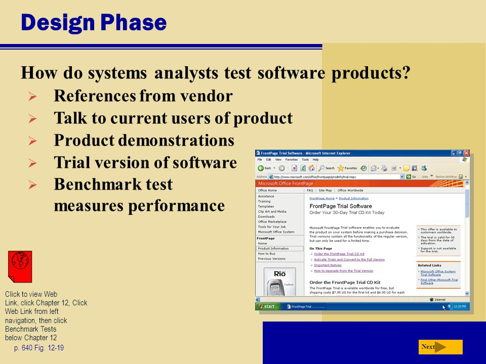 Design Phase How do systems analysts test software products