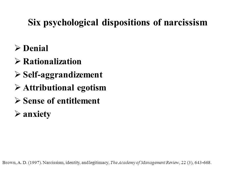 Six psychological dispositions of narcissism
