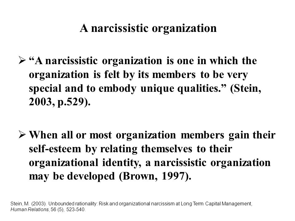 A narcissistic organization