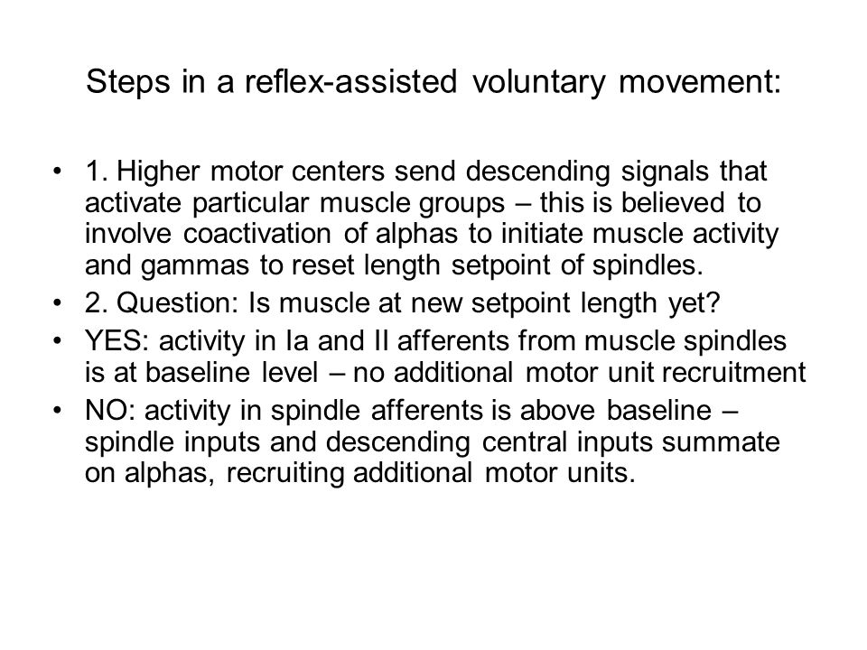 Steps in a reflex-assisted voluntary movement: