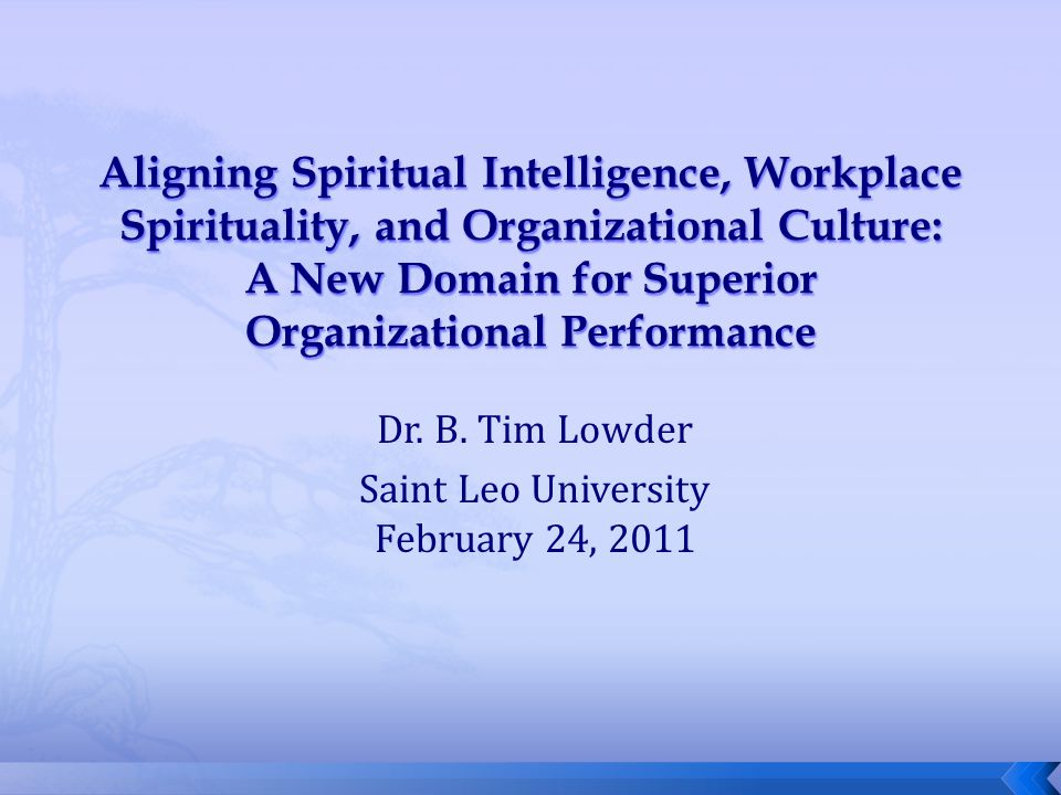 Dr. B. Tim Lowder Saint Leo University February 24, 2011