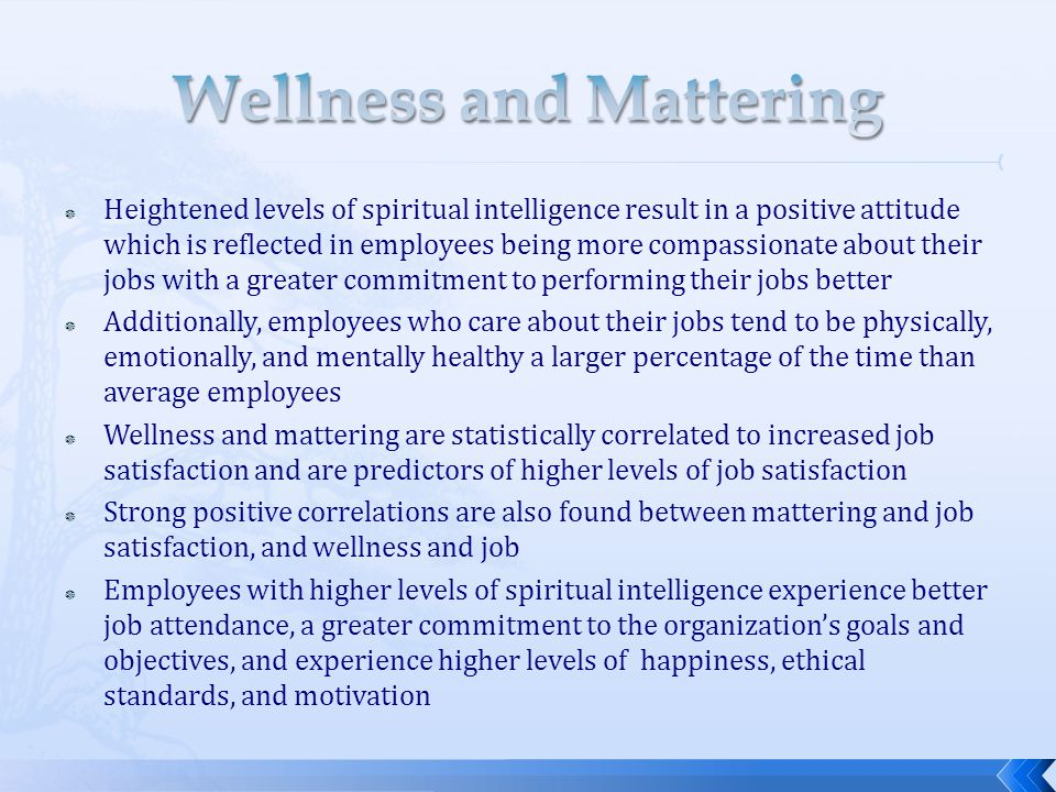 Wellness and Mattering