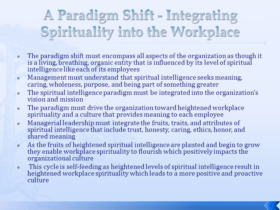 A Paradigm Shift - Integrating Spirituality into the Workplace