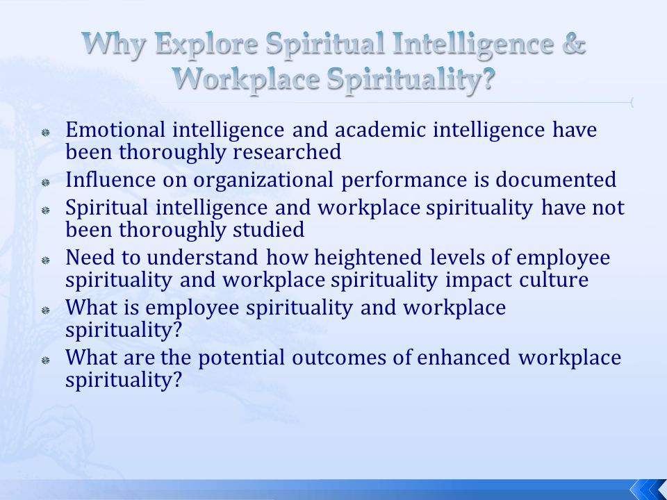 Why Explore Spiritual Intelligence & Workplace Spirituality