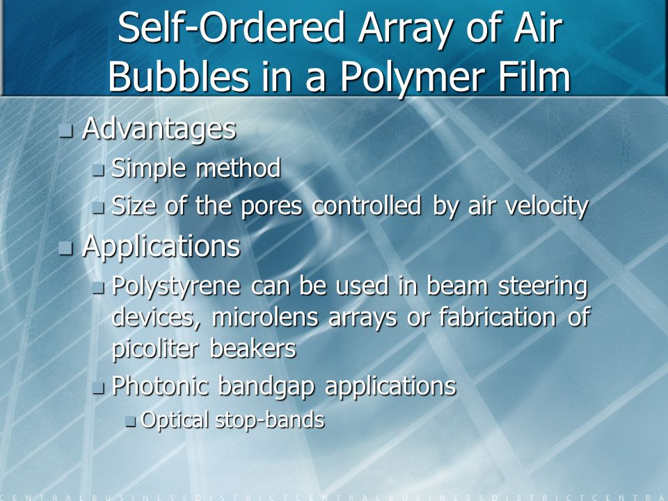Self-Ordered Array of Air Bubbles in a Polymer Film