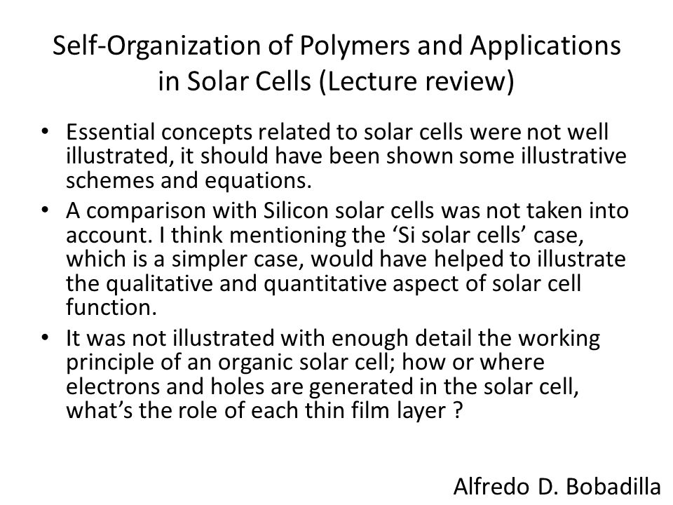 Self-Organization of Polymers and Applications in Solar Cells (Lecture review)