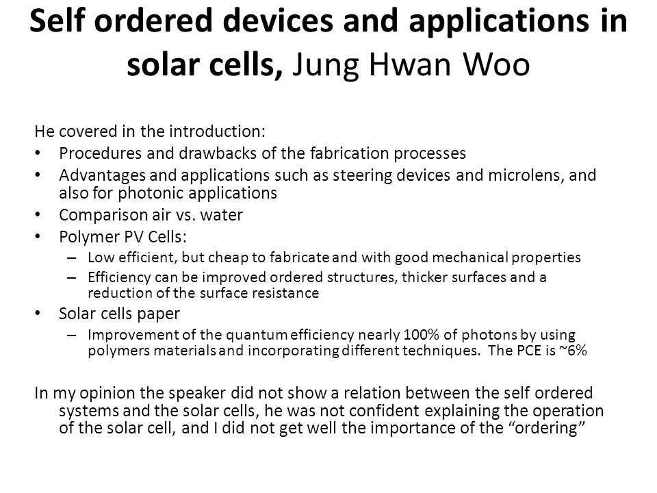 Self ordered devices and applications in solar cells, Jung Hwan Woo