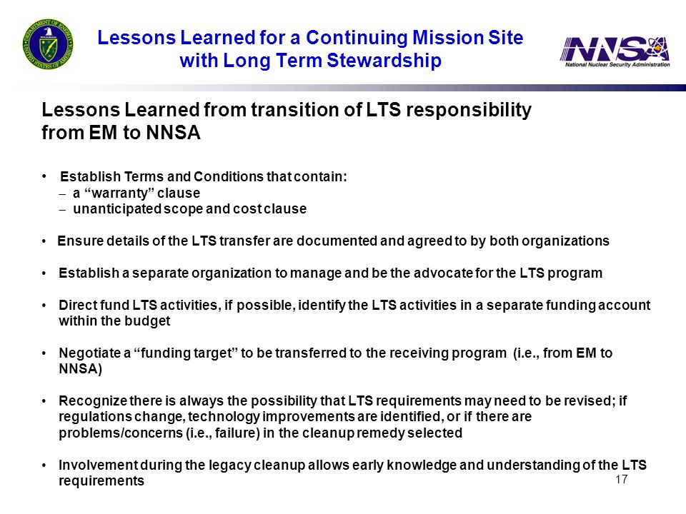 Lessons Learned from transition of LTS responsibility from EM to NNSA