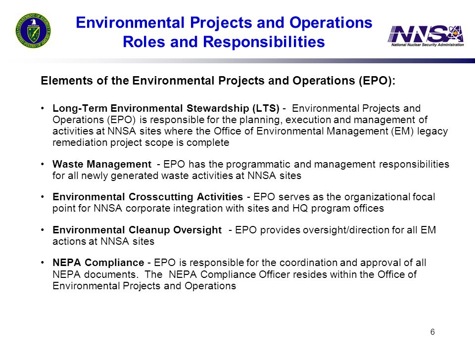 Environmental Projects and Operations Roles and Responsibilities