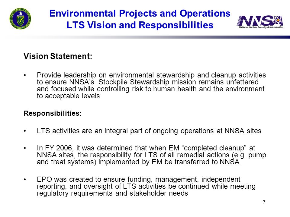 Environmental Projects and Operations LTS Vision and Responsibilities