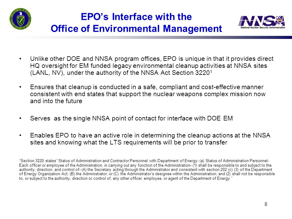 EPO's Interface with the Office of Environmental Management