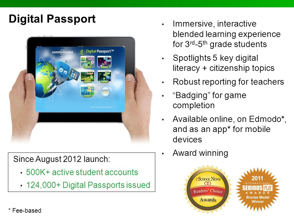 Digital Passport Immersive, interactive blended learning experience for 3rd-5th grade students.