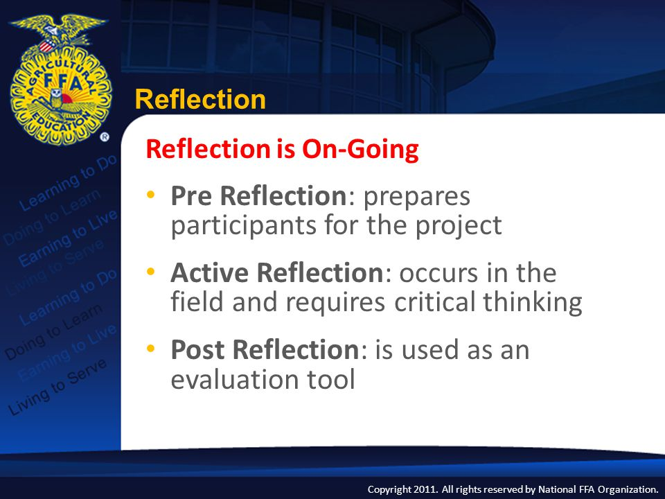 Pre Reflection: prepares participants for the project