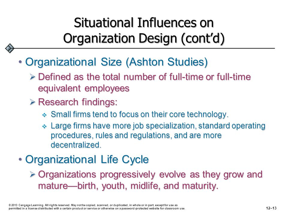 Situational Influences on Organization Design (cont'd)