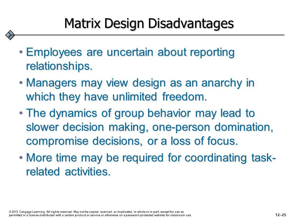 Matrix Design Disadvantages