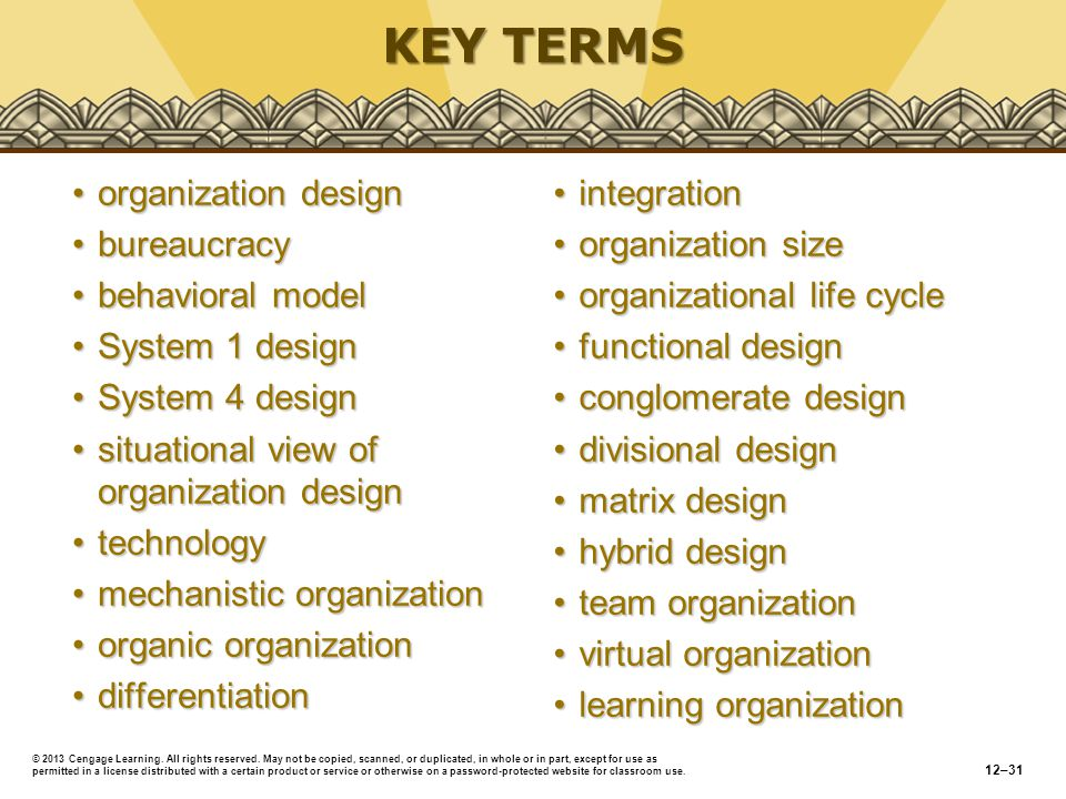 KEY TERMS organization design bureaucracy behavioral model