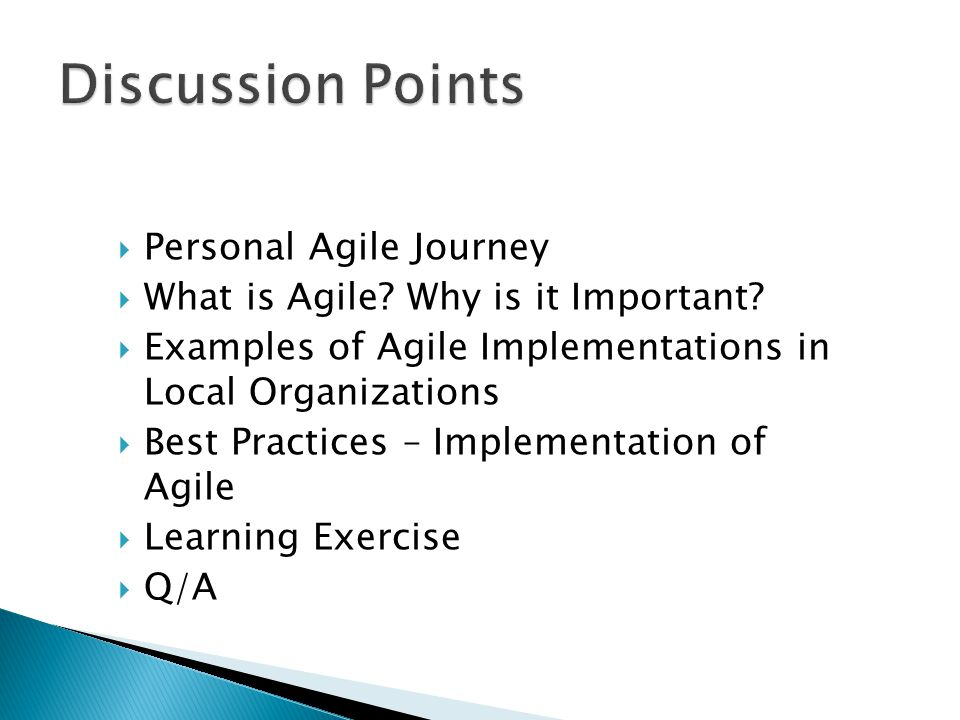 Discussion Points Personal Agile Journey