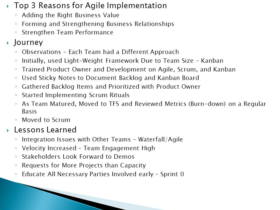 Top 3 Reasons for Agile Implementation