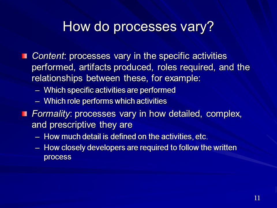 How do processes vary